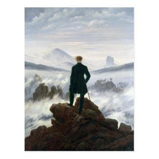 Postal El vagabundo sobre el mar de la niebla