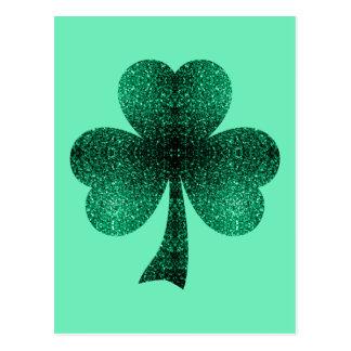 Postal El verde esmeralda chispea turquesa del trébol del
