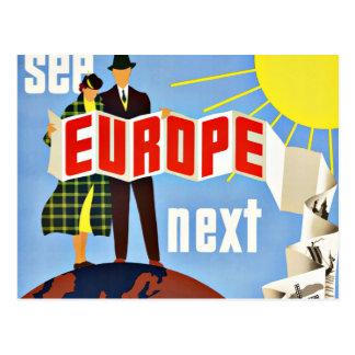 Postal El viaje del vintage considera Europa