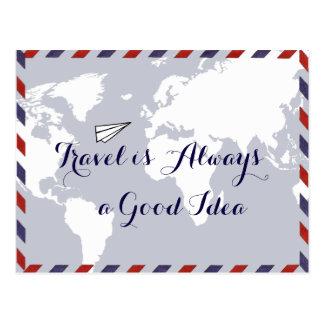 Postal el viaje es siempre una buena idea, mapa del mundo