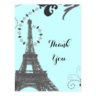 Postal el vintage azul París de la torre Eiffel le