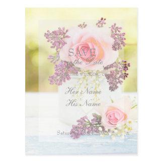 Postal El vintage de las lilas y de los rosas ahorra el