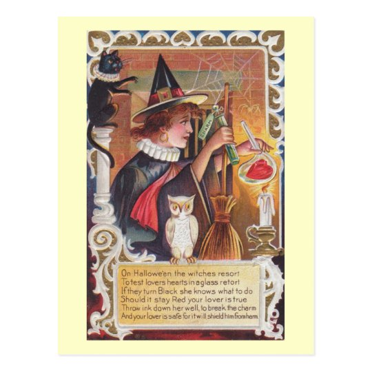 Postal El vintage del encanto de la bruja