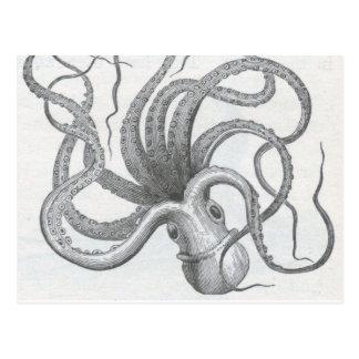 Postal El vintage náutico del pulpo del steampunk kraken
