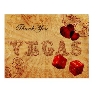 Postal el vintage rojo Vegas de los dados le agradece