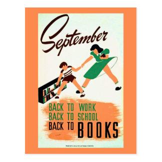 Postal El vintage septiembre de nuevo al trabajo,
