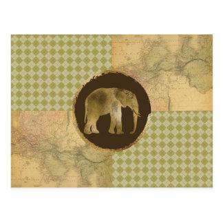 Postal Elefante africano en mapa y Argyle