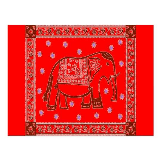 Postal Elefante del arte del Hindi