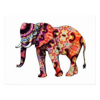 Postal Elefante psicodélico colorido del art déco