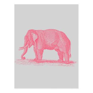 Postal Elefante rosado del vintage en elefantes grises de