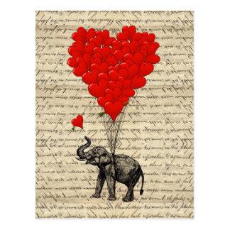 Postal Elefante y globos en forma de corazón