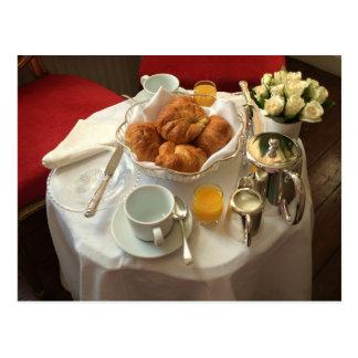 Postal elegante del desayuno continental