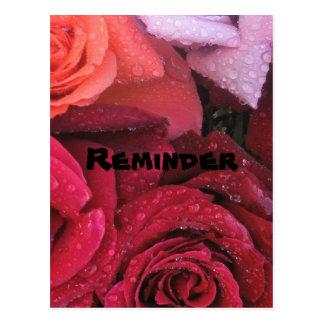 Postal elegante del recordatorio de los rosas