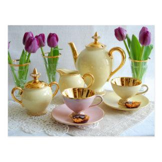 Postal elegante del té/del café de tarde