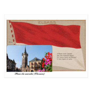 """Postal """"Elsass"""" Lugar del mercado de Obernai"""