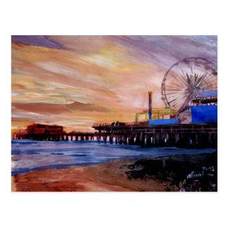 Postal Embarcadero de Santa Mónica en la puesta del sol