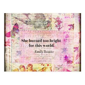 Postal Emily Brontë, cita de Cumbres borrascosas