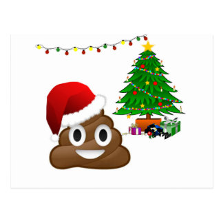 Postal emoji del poo del navidad
