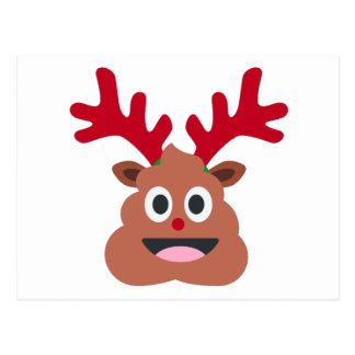 Postal emoji del poo del reno de Navidad