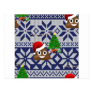 Postal emoji feo del impulso del suéter del navidad