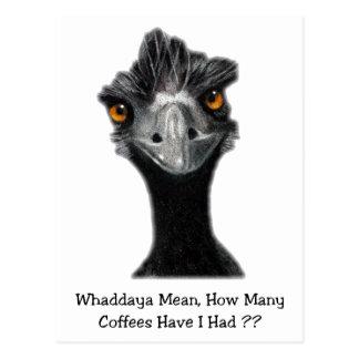 Postal Emu: Divertido, humor: Demasiados cafés: Arte