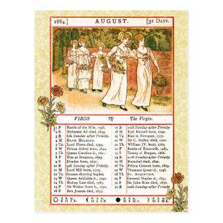 Postal En agosto de 1884 almanaque.  Virgo, la Virgen