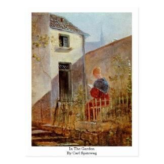 Postal En el jardín de Carl Spitzweg