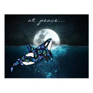 Postal en la ballena Trippy psicodélica de la orca de la