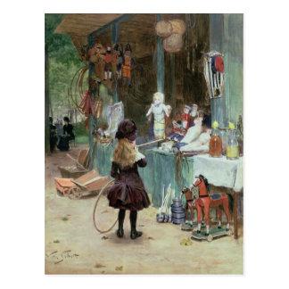 Postal En los jardines de Champs-Elysees, c.1897 (aguazo