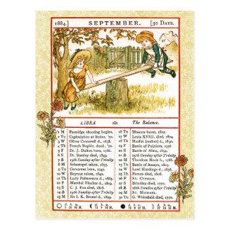 Postal En septiembre de 1884 almanaque.  Libra, el