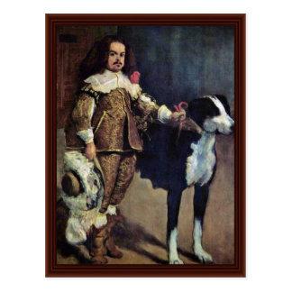 Postal Enano de la corte con un perro de Diego Velázquez