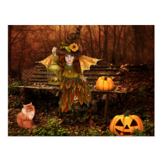 Postal encantada de Halloween con la hada del