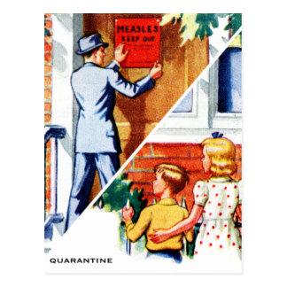 Postal Enfermo retro del sarampión del libro de niños del