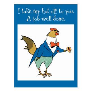 Postal Enhorabuena del gallo de la diversión