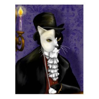 Postal enmascarada gato fantasma del arte de la