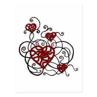 Postal Enrejado Loopy del corazón del amor