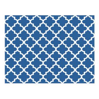 Postal Enrejado marroquí de la teja del azul de cobalto