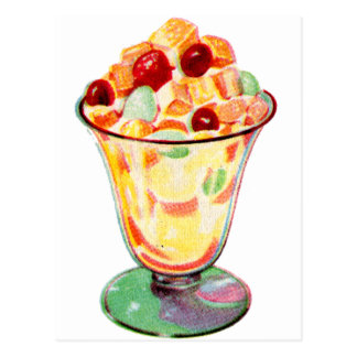 Postal Ensalada de fruta retra de la publicidad del