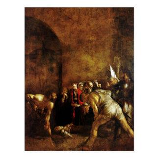 Postal Entierro del santo Lucy por Caravaggio (1608)