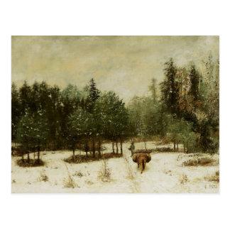 Postal Entrada al bosque en invierno