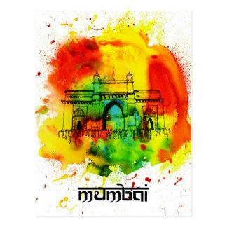 Postal entrada de Bombay de las acuarelas brillantes de