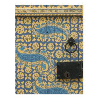 Postal Entrada de madera de Tallinn amarilla y azul,