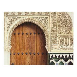 Postal Entrada en el palacio de Alhambra en Granada,