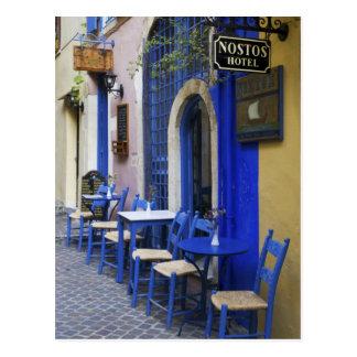Postal Entrada y apartadero azules coloridos al hotel