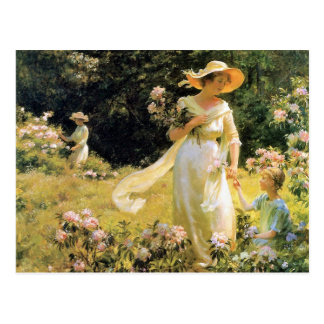 Postal Entre los flores del laurel de Charles Curran