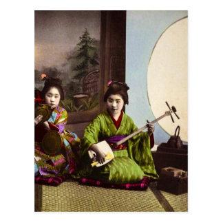 Postal Entretenimiento japonés del Musical del geisha del