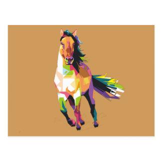 Postal Equestrian corriente colorido del semental del