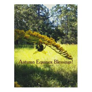 Postal Equinoccio Mabon del otoño de la abeja y de la