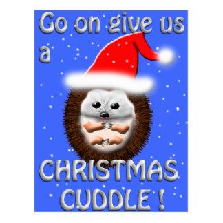 Postal erizo de la abrazo del navidad