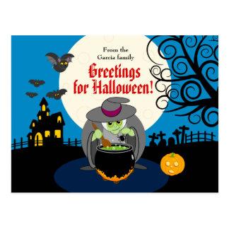 Postal Escena asustadiza de la bruja de Halloween de la